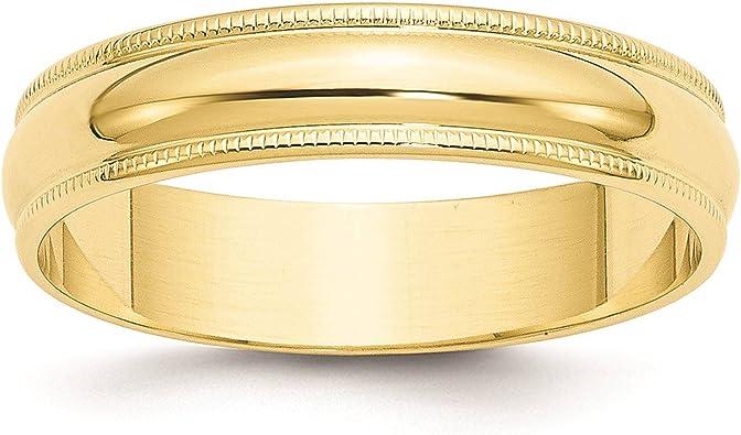 10K White Gold 5mm Half Round Band Ring