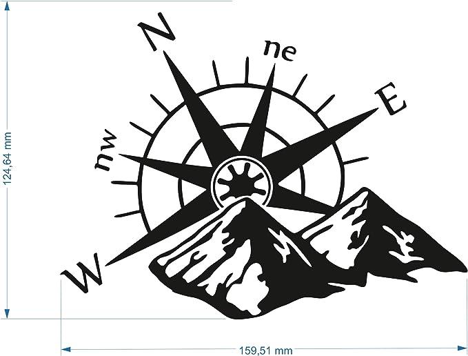 Kompass Berge Aufkleber Schwarz Matt Auto