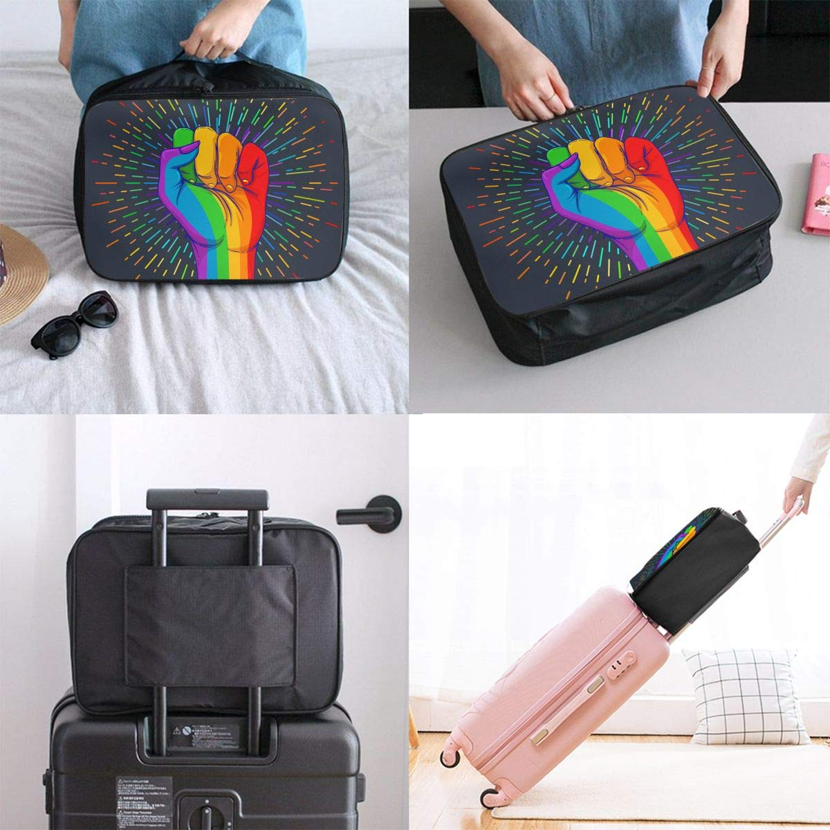 Rainbow Colored Hand Travel Bag Cute Luggage Bags Duffle Bag Large Capacity Travel Organizer Bag