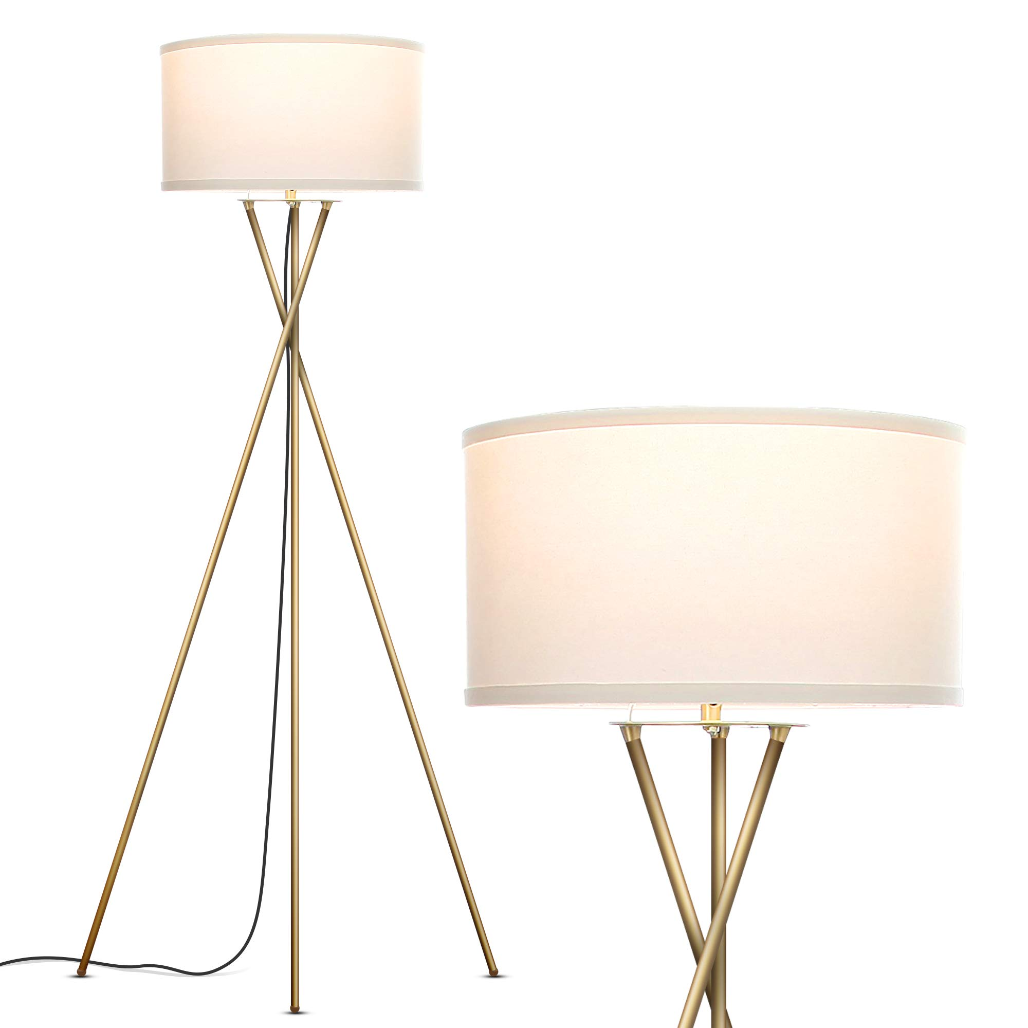 Brightech Jaxon Tripod LED Floor Lamp - Mid Century Modern, Living Room Standing Light - Tall, Contemporary Drum Shade Lamp for Bedroom or Office - Brass/Gold by Brightech