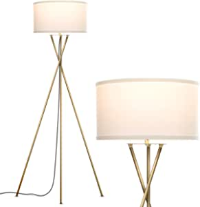 Brightech Jaxon Mid Century Modern Gold Tripod Floor Lamp For Living Room Standing Light With Contemporary Drum Shade Matches Bedroom Decor Gets Compliments Tall Brass Lamp With Led Bulb Amazon Com