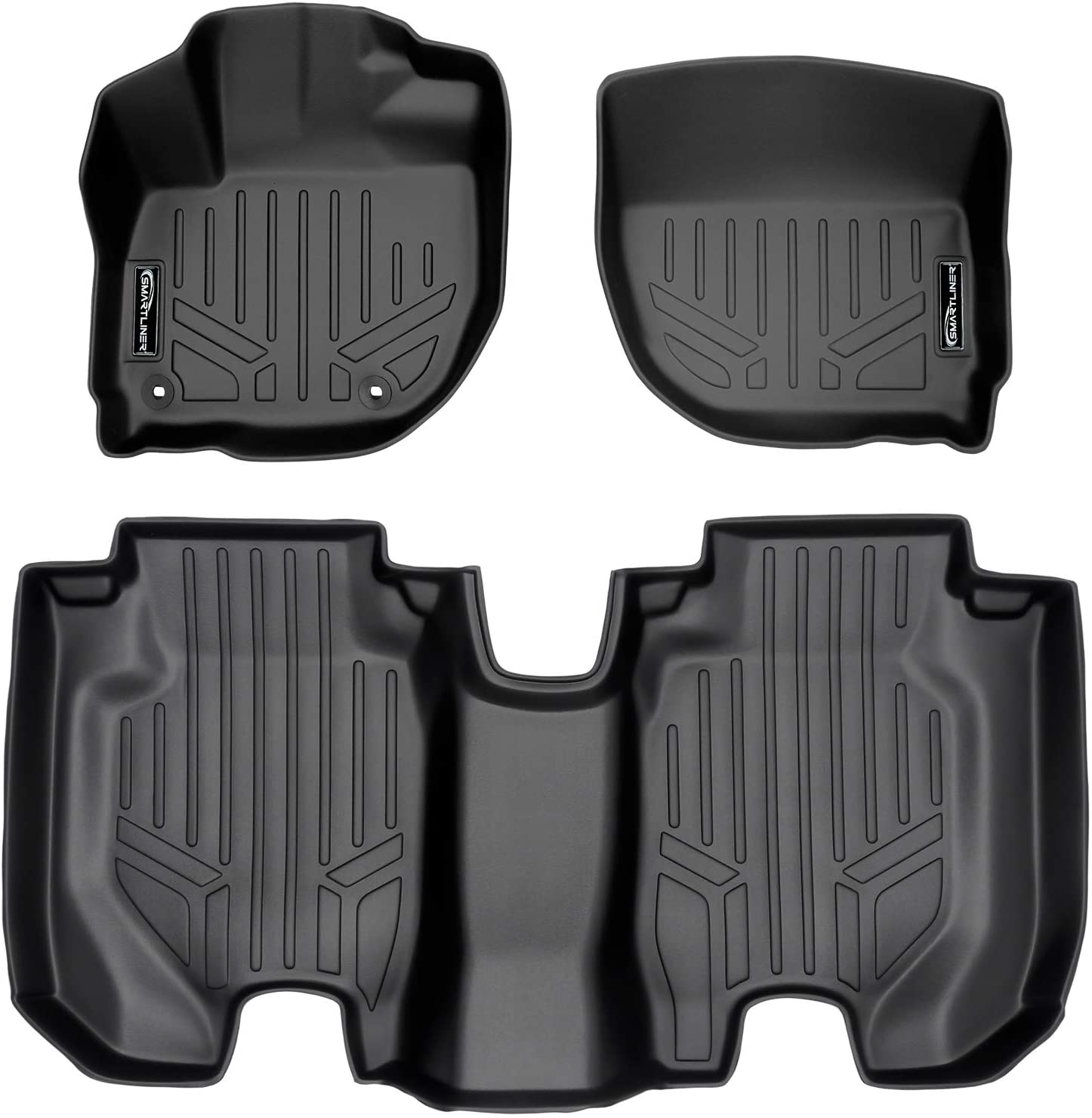 SMARTLINER Custom Fit Floor Mats 1st Row Liner Set Black for 2015-2019 Honda Fit 2016-2019 Honda HR-V