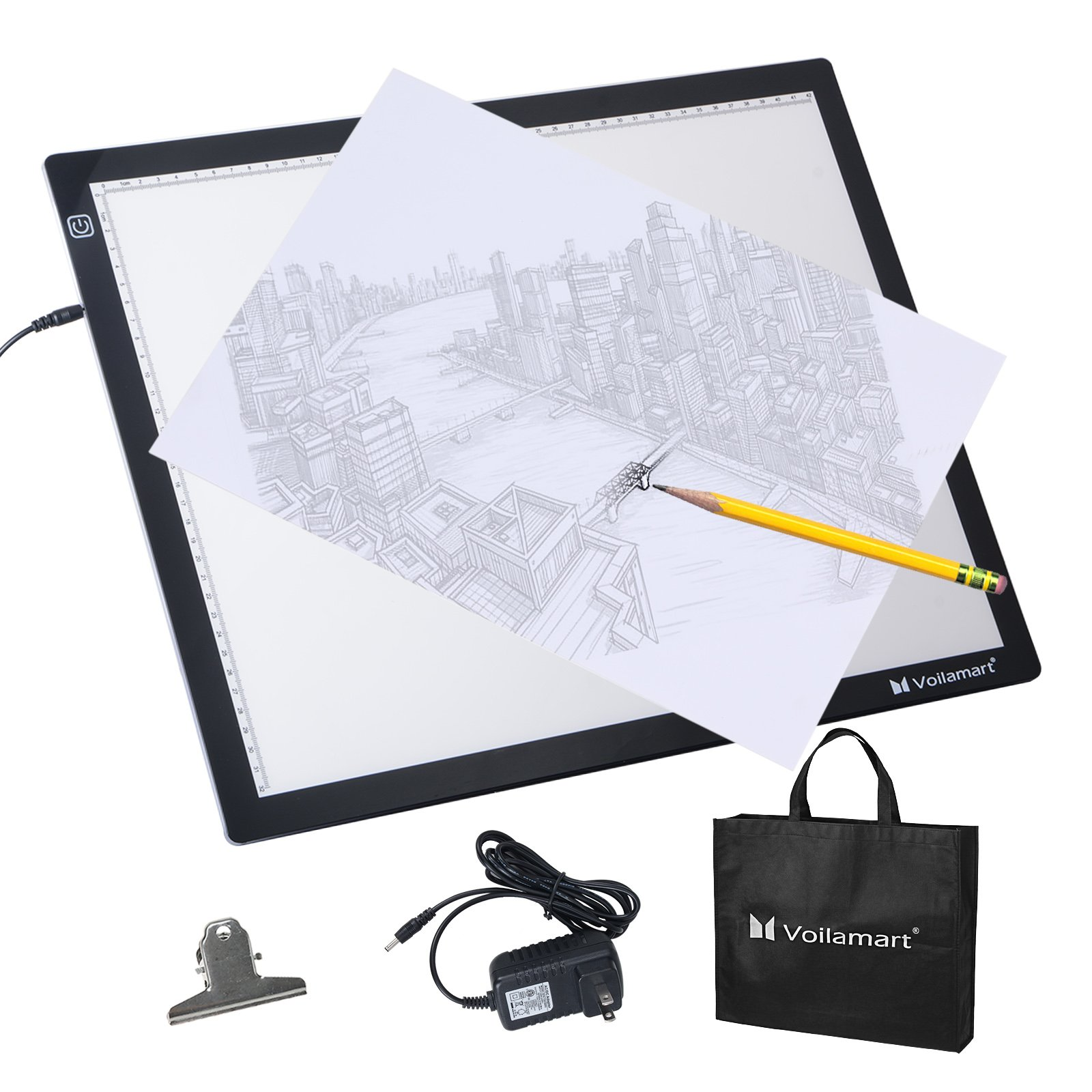 Voilamart A3 LED Light Box Tracer, 12V Ultra Bright Stepless Dimmable Brightness w/ Memory Function, Ultra-thin LED Tracing Art Craft Light Pad Light Board with Carry Case, for Artists Drawing Tattoo