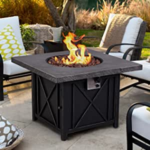 Ehomexpert 50,000 BTU Fire Pit Table, Outdoor Garden 34.5-Inch Square Auto-Ignition Propane Gas Fire Table with Waterproof Cover for Patio Courtyard Balcony