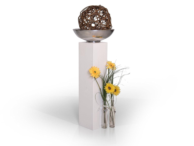Blumensäule Blumensäule Blumensäule Dekosäule Fichte massiv, Weiss, 19x19 cm, 80 cm 1d1fb1