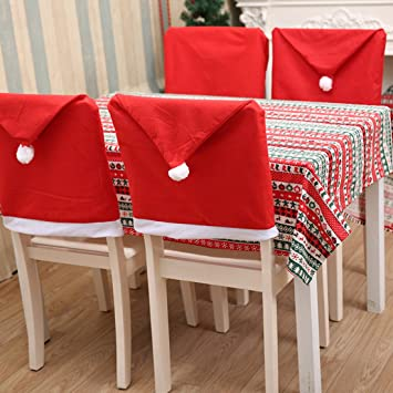 Christmas Chair Covers Festive Xmas Santa Red Hat Sets Decorations 6050cm