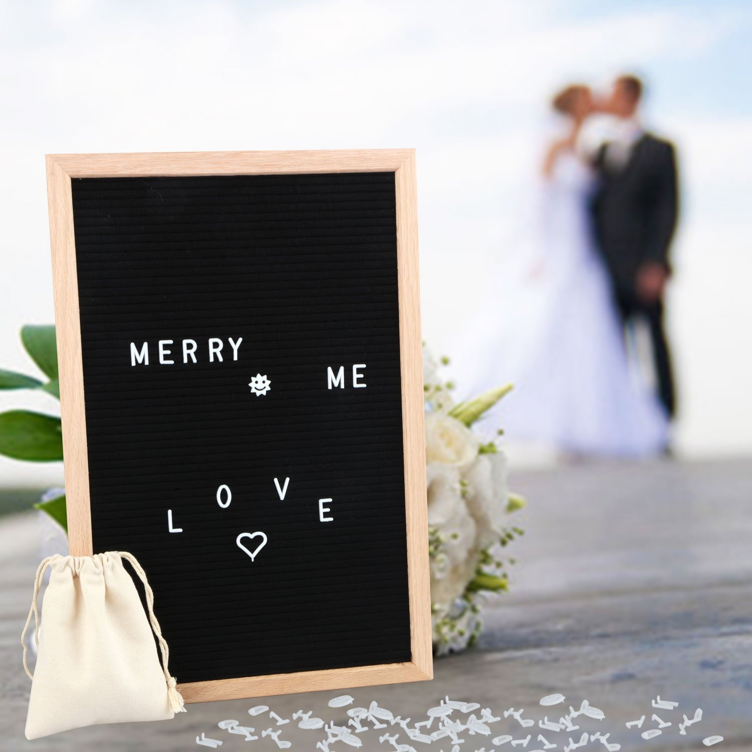 Black Felt Letter Board 12 x 18 Inches, Changeable Letter Boards with 340 White Plastic Letters, Oak Frame and FREE Canvas Bag Pannow