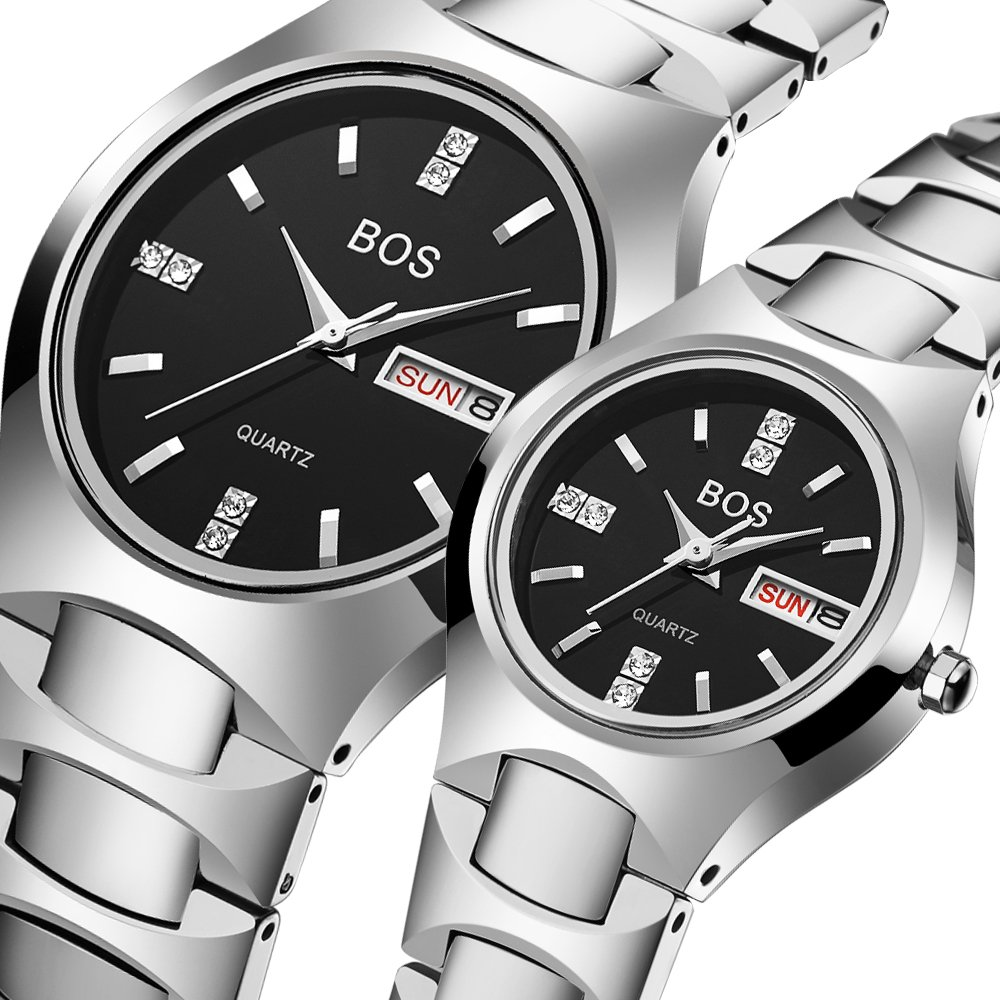 BOS Watch His and Hers Elegant Quartz Wrist Couple Watches for Lovers Metal Bracklet (Silver)