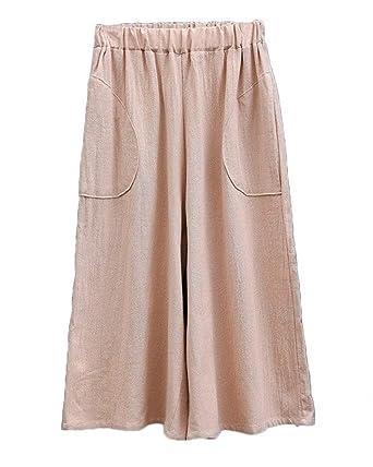 Pantalones Verano Mujer Elegante Cintura Alta Color Sólido ...