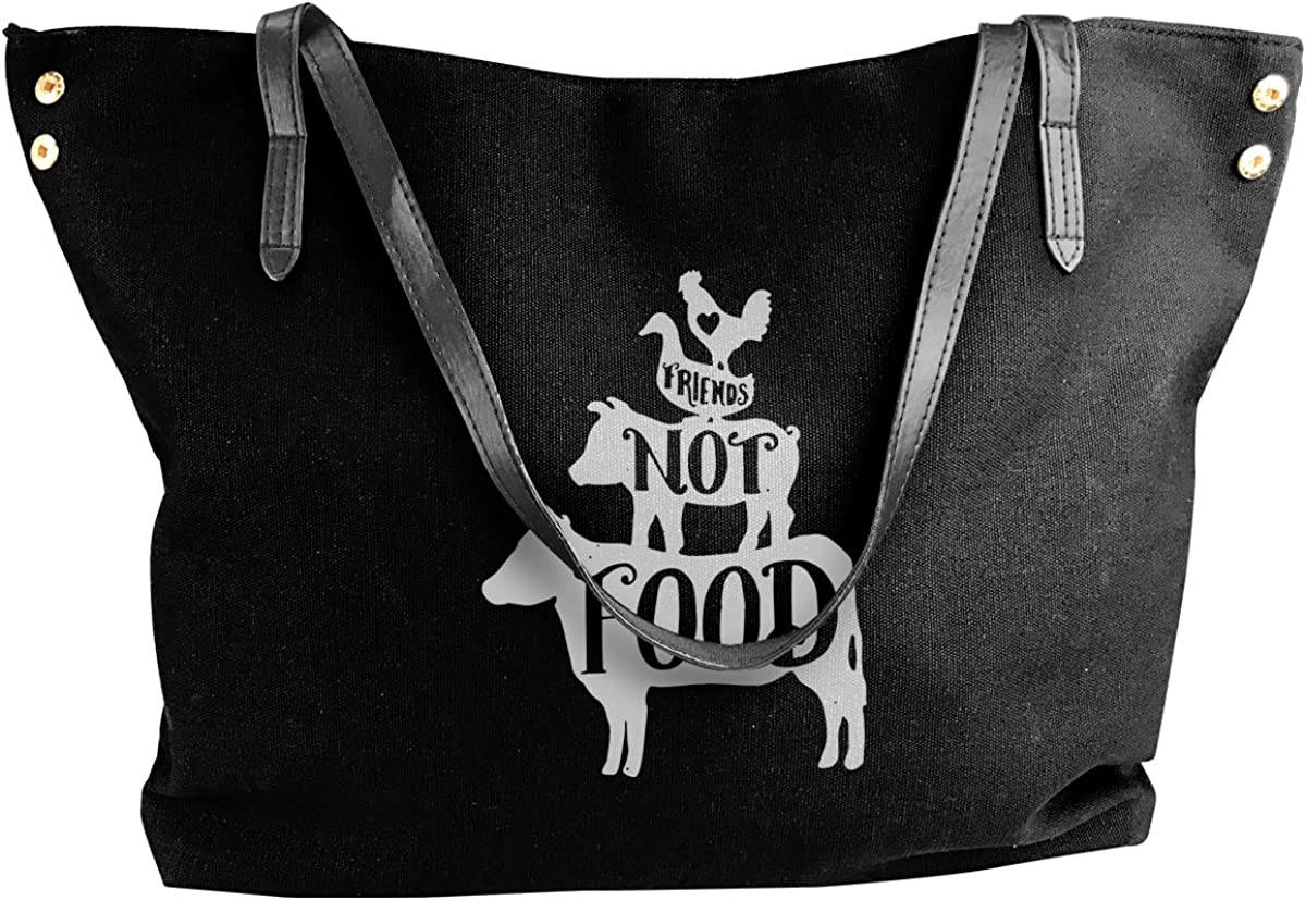 Friends Not Food Women Casual Canvas Shoulder Bags Large Capacity Work Travel Shopping Tote Handbag