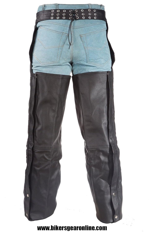 Veste de moto en cuir Noir d/équitation CHAP Pantalon tress/ée Cuir de vache NEUF Regular