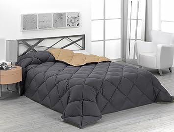 Sabanalia - Edredón nórdico de 400 g reversible (bicolor), para cama de 90 cm, color arena y gris: Amazon.es: Hogar