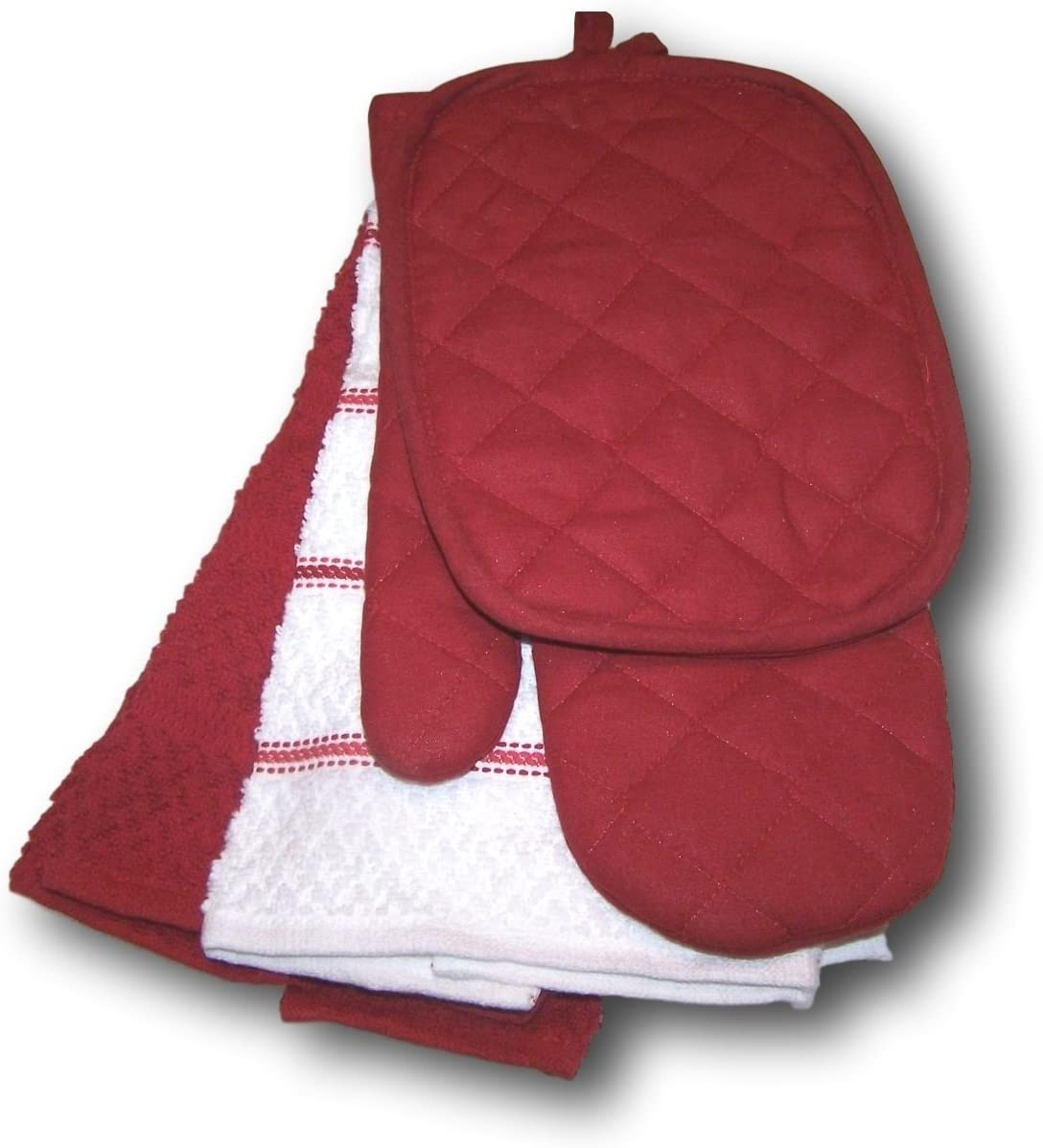 Red Sedona Kitchen Towel Set 5 Piece- Towels, Pot Holders, Oven Mitt by Mainstays