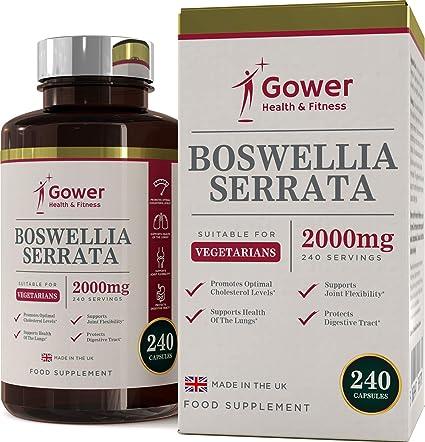 Extracto de Boswellia Serrata (Incienso) Cápsulas 5: 1 (2000 mg equivalente) | 240 cápsulas | POTENTE ANTI INFLAMATORIO | Para la salud de los ...