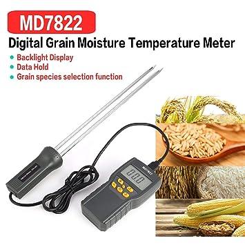Medidor de Humedad Digital MD7822 Analizador Termómetro de Temperatura Humedad Higrómetro de agua Detector de Humedad Probador (Color: Gris): Amazon.es: ...