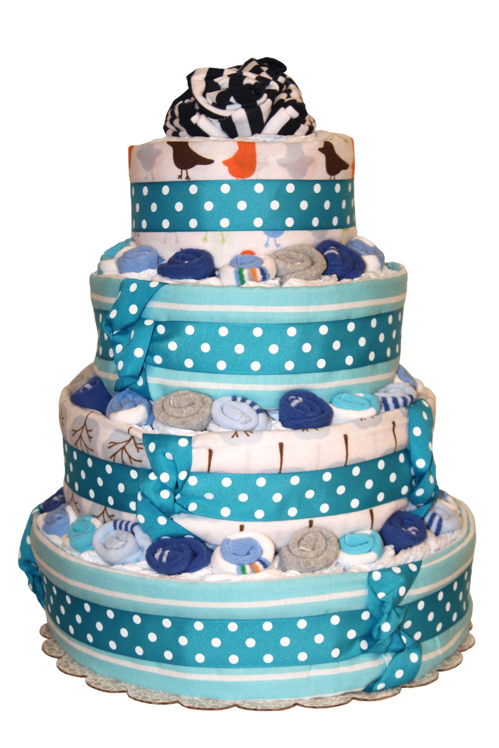 QBabyShowering Classic Blue 4 Tier Diaper Cake For Baby Boy Shower - Diaper Cake made out of 2 Onesies, 25 Pairs Of Newborn Socks, 6 Receiving Blankets, 105 Diapers (Stripe Midnight White)