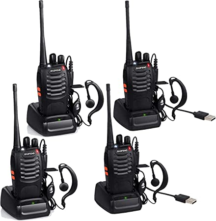 Baofeng BF-888S USB Rechargeable Walkie Talkies Two Way Radios 16 Channels Long Range Radio UHF 400-470MHz with Earpiece 4 Pack, Black