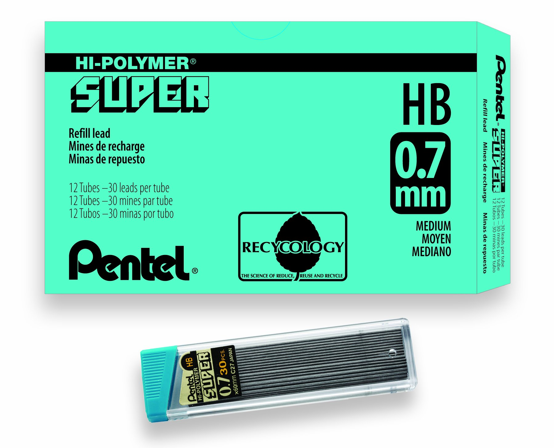Pentel Super Hi-Polymer Lead Refill, 0.7mm Medium, HB, 360 Pieces of Lead (C27-HB)
