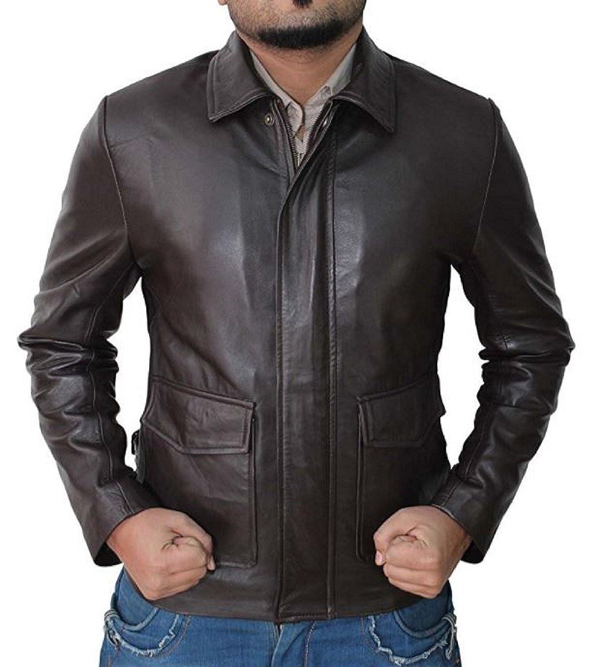 NBENTERPRISES NB Leather Mens Indiana Jones Leather Brown Jacket NBE-11019