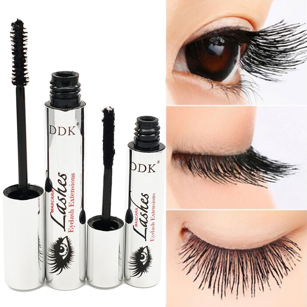 4585faa2fd6 Amazon.com : Tiikii DDK 4D Silk Fiber Lash Mascara for Eyelash Extension,  Crazy-long Black Grow Lash Cream Kit Warm Water Washable Curling Eyelash :  Beauty