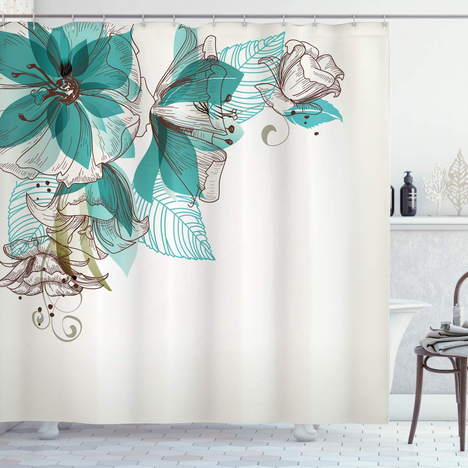 "Ambesonne Turquoise Shower Curtain, Flowers Buds Leaf at The top Left Corner Season Celebrating Theme, Cloth Fabric Bathroom Decor Set with Hooks, 84"" Long Extra, Teal Brown"