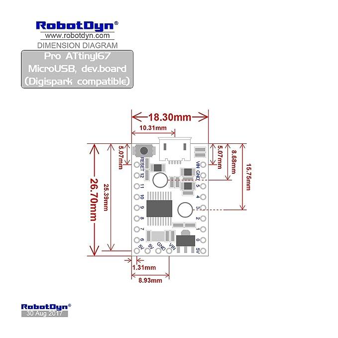 robotdyn - Digispark Pro ATTINY167 desarrollo junta, Micro USB.: Amazon.es: Electrónica