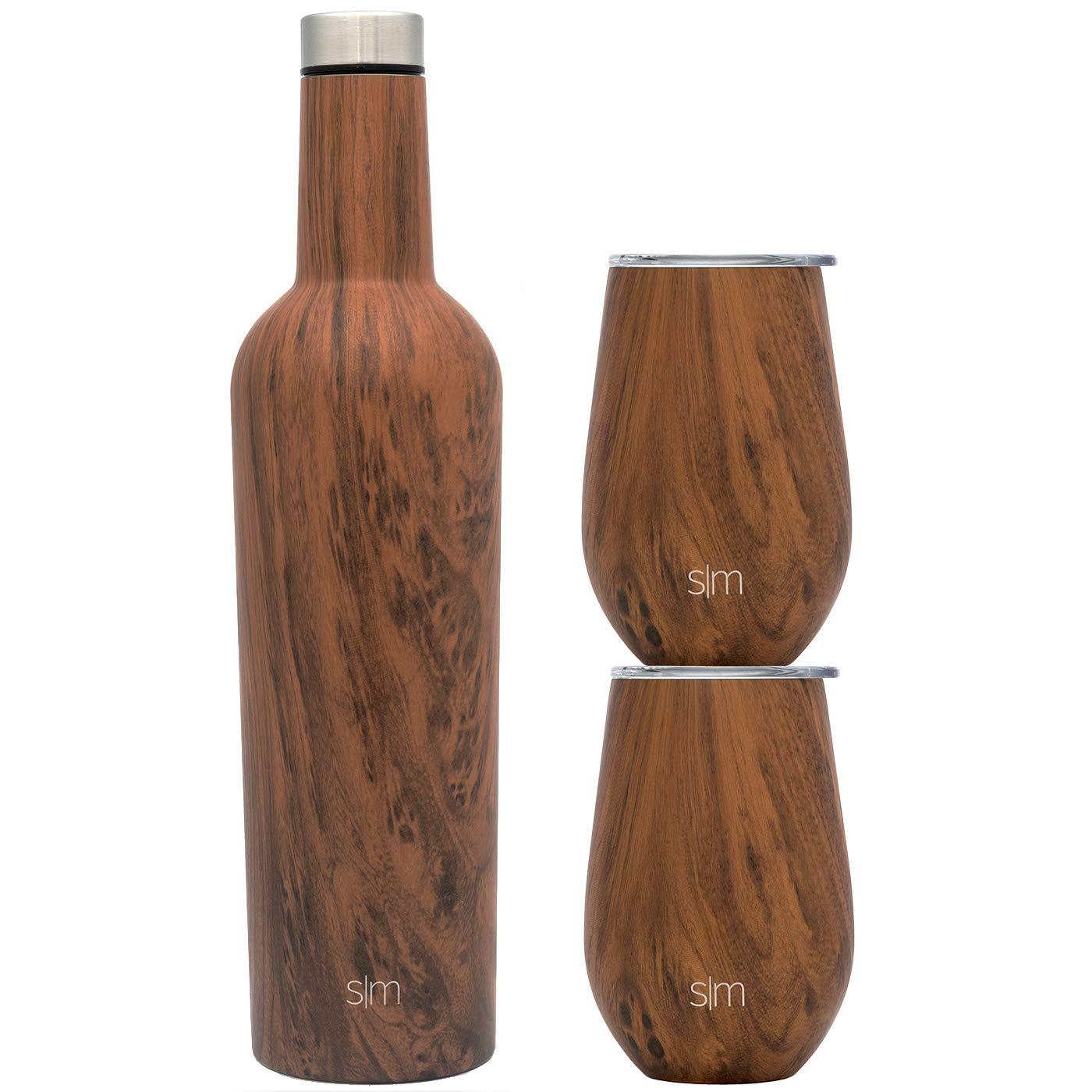 Simple Modern Spirit Wine Bundle - 2 12oz Wine Tumbler Glasses with Lids & 1 Wine Bottle - Vacuum Insulated 18/8 Stainless Steel Pattern: Wood Grain by Simple Modern