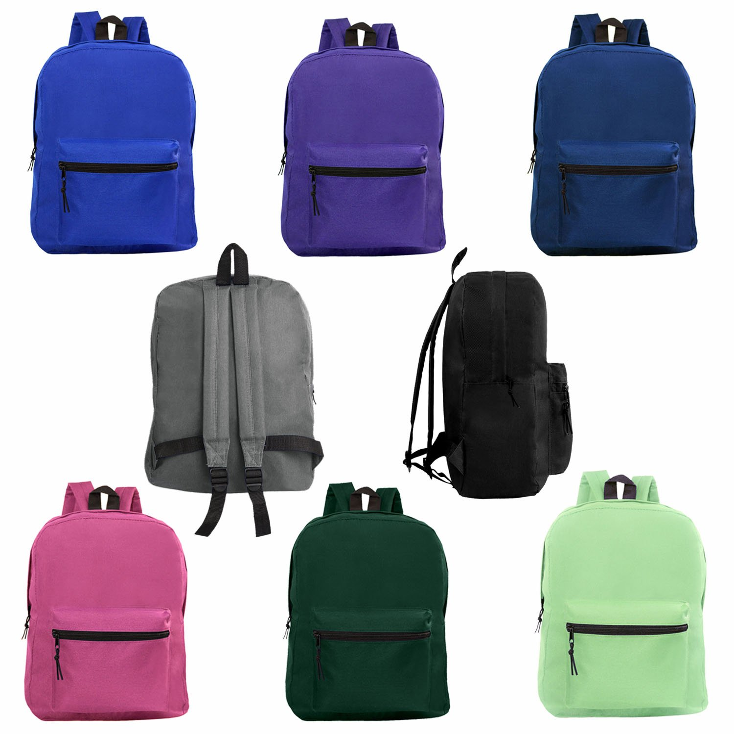 Wholesale 15 Inch Classic Backpacks for Students - Bulk Case of 24 Bookbags - 8 Assorted Colors