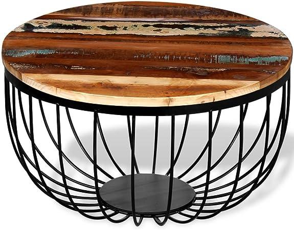 Luckyfu Diseno Moderno Mobiliario Mesas Mesas Decorativas Mesas de Centro Mesa de Centro de Madera reciclada Maciza: Amazon.es: Hogar