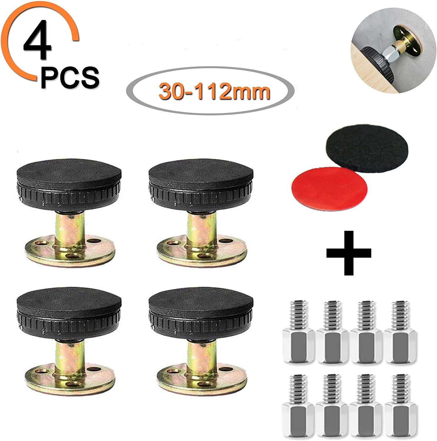 4pack,33-110mm Adjustable Threaded Bed Frame Anti-Shake Tool,Headboard Stoppers Bedside Headboards Prevent loosening Anti-Shake Fixer for Room Wall and Furniture Combination