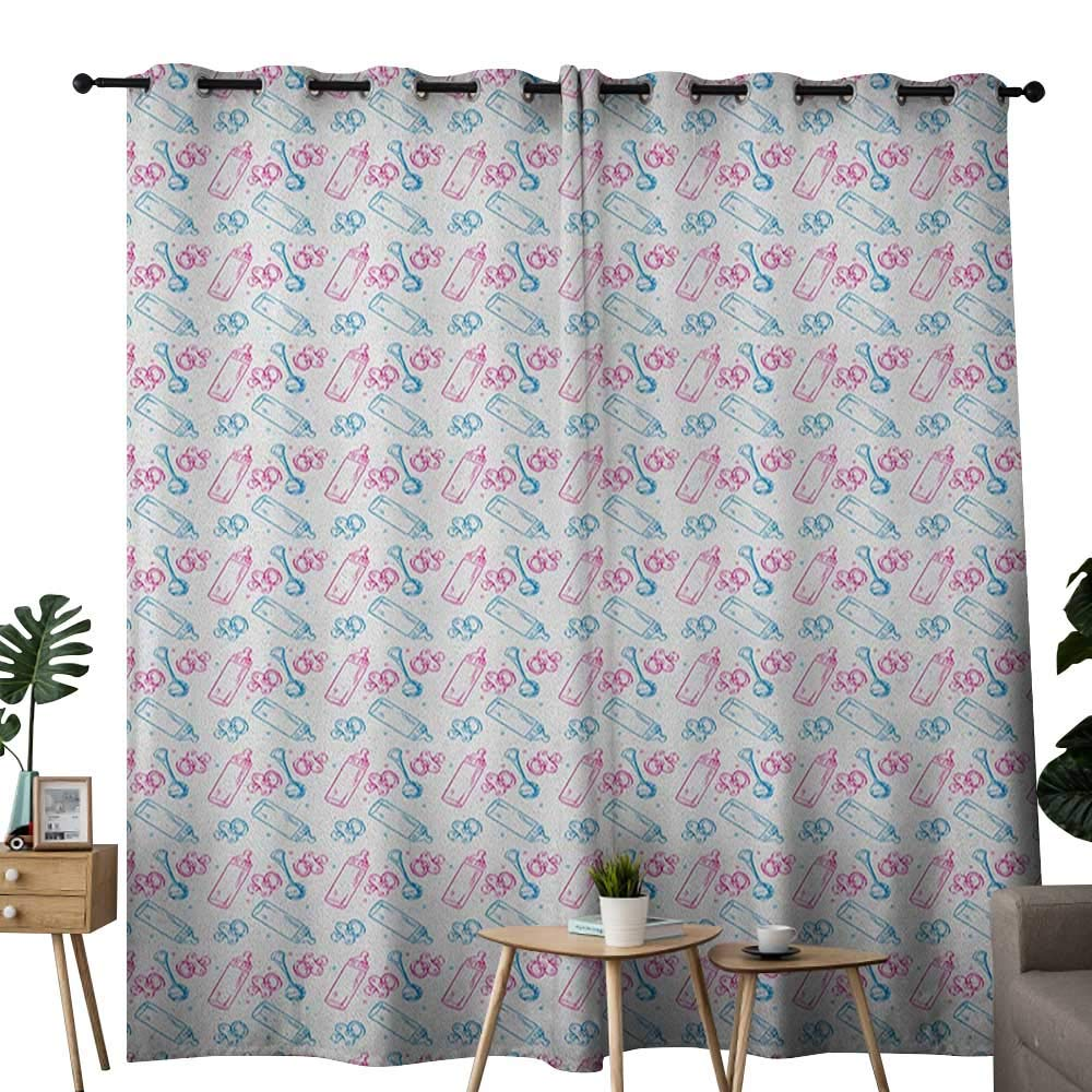 NUOMANAN Blackout Curtains Baby,Milk Bottles Pacifiers Rattles Pattern Hand Drawn Baby Toys Themed Ornate Image, Pink Blue White,for Bedroom,Nursery,Living Room 120''x96''