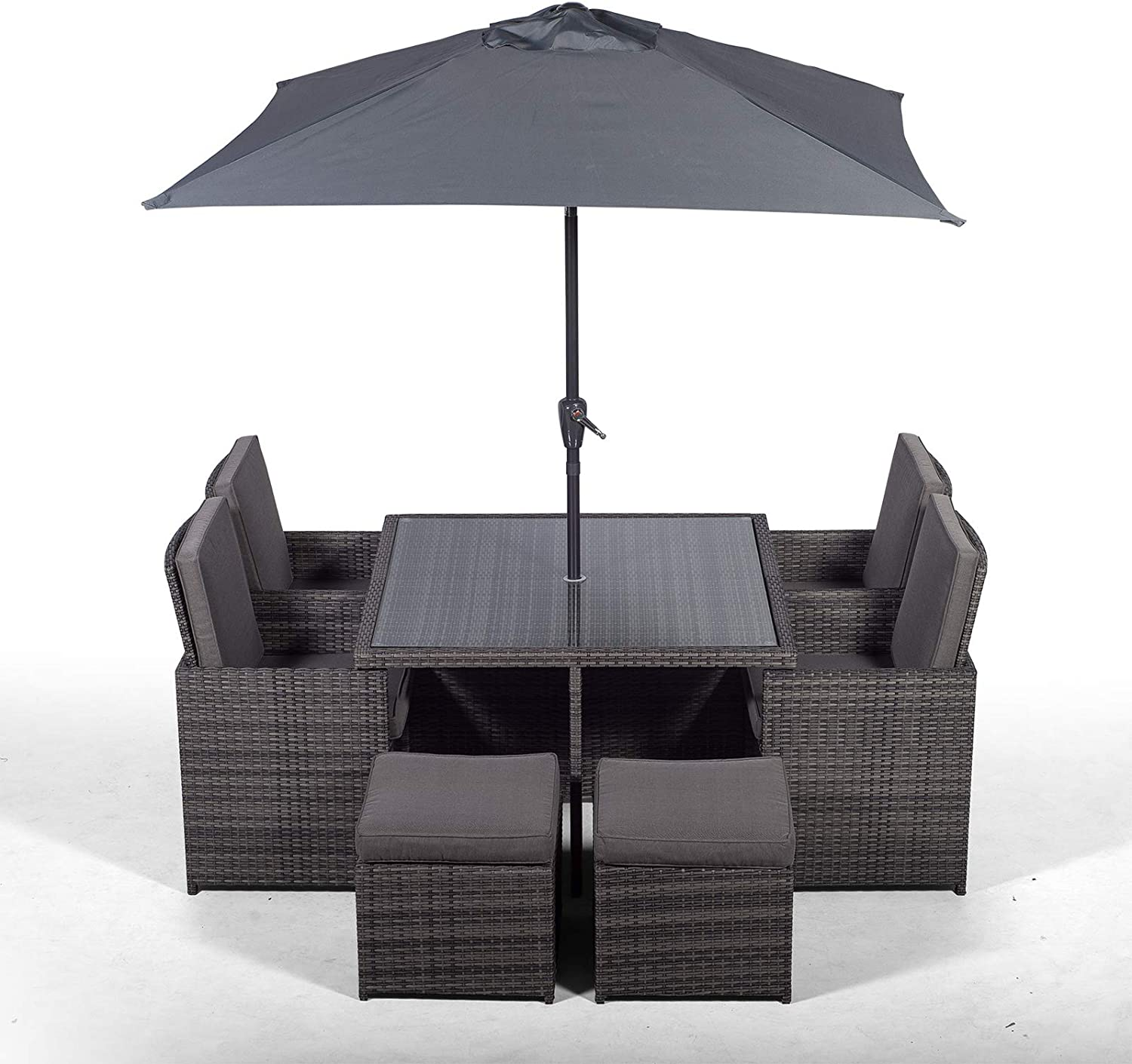 Giardino Rattan Cube Dining Set  Square 9 Seater Grey Rattan Dining Set   Outdoor Poly Rattan Garden Table & Chairs Set  Patio Conservatory Wicker