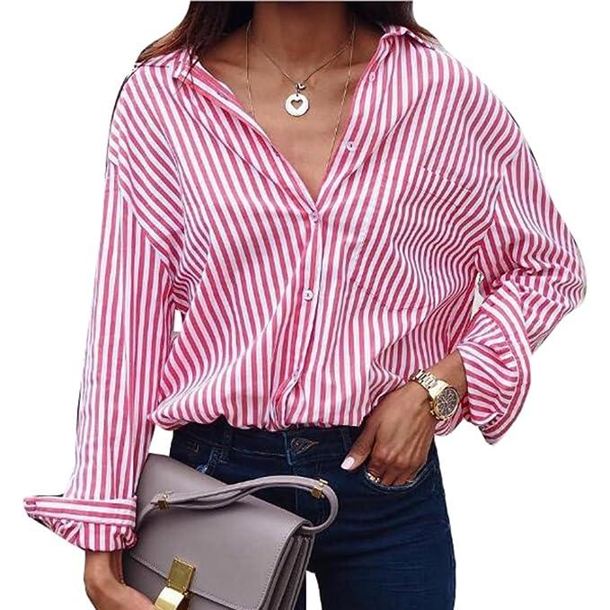 Hibote Camisa a Cuadros Blusa de Mujer Camisas a Cuadros Mujer Camisas de Manga Larga con