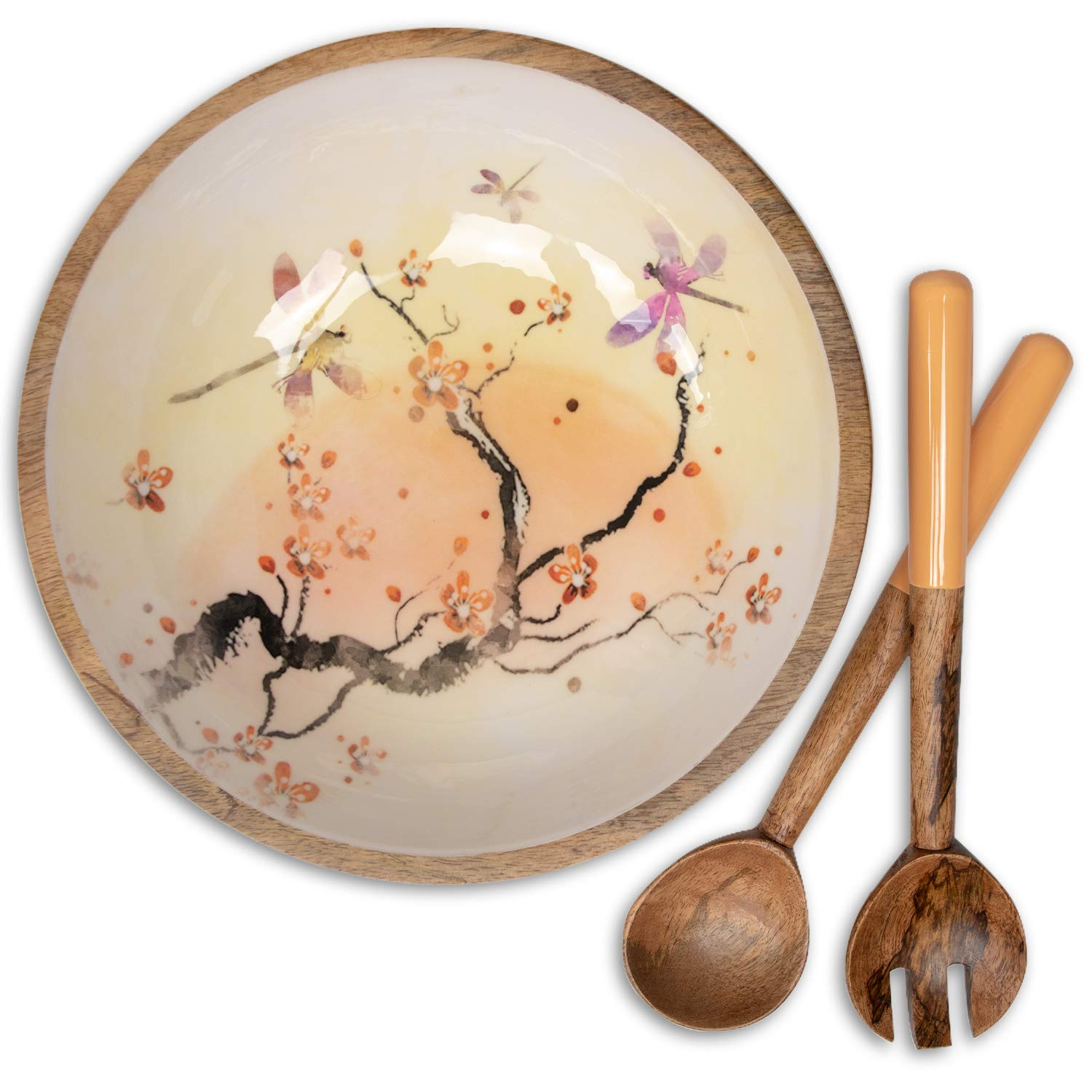 Wood Salad Bowl Set with Servers - Large 12 Inch Round Mango Wood Serving Bowl with Spoons for Soups, Fruit, Pasta, Caesar, Tossed, and Mixed Salads | Natural Mango Wood Serving Bowl Set by ELEETS COLLECTION (Image #8)