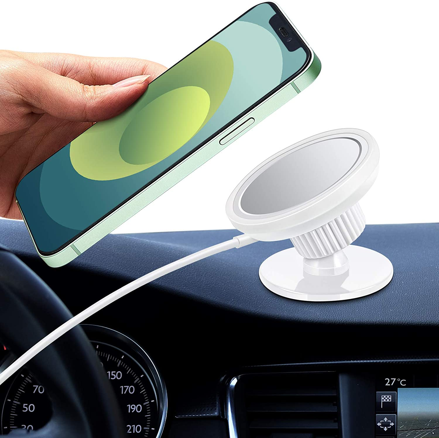 Weewooday Car Mount Compatible with MagSafe 360 Degree Rotation Dashboard Car Charger Mount Wireless Cell Phone Holder Compatible with iPhone 12/12 Pro/12 Pro Max/12 Mini (White)