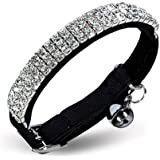 CHUKCHI Soft Velvet Safe Cat Adjustable Collar Bling Diamante With Bells,11 inch for small dogs and cats