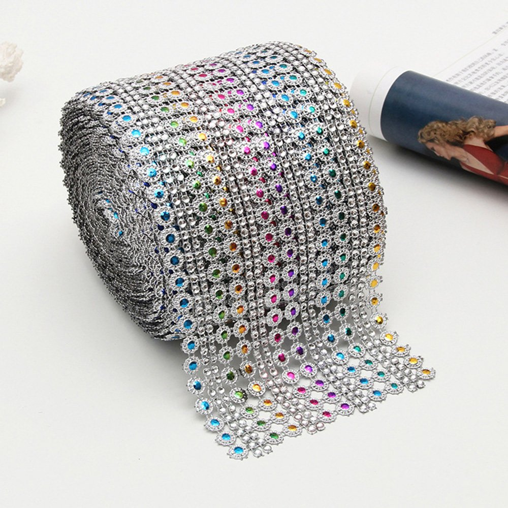 "USIX 4.5""x10 Yard Roll 16 Rows Plum Flower Shaped Sparkling Glitter Rhinestone Diamond Mesh Ribbon Webbing Wrap for DIY Arts Craft Sewing Wedding Bouquet Cake Birthday Party Decoration (#72-Rainbow)"