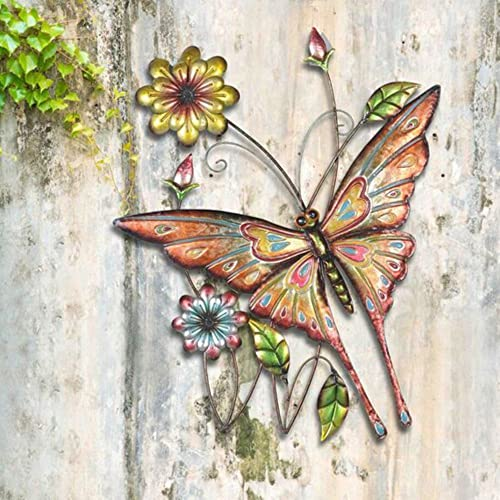 Sunjoy Butterfly Flowers 30.75 Hand-Painted Iron Outdoor Wall Decor