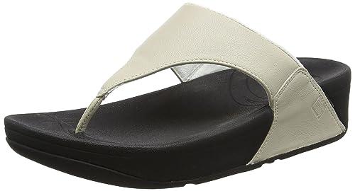 Lulu - Sandalias de dedo de cuero para mujer, color negro, talla 39 FitFlop