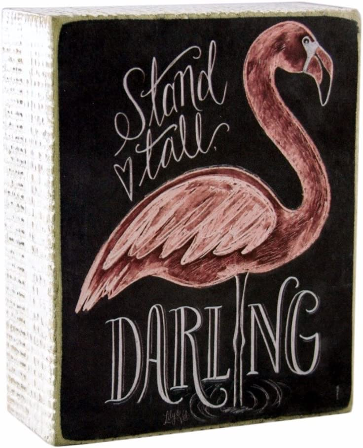 PBK Stand Tall Darling Flamingo Themed Decorative Wooden Box Sign