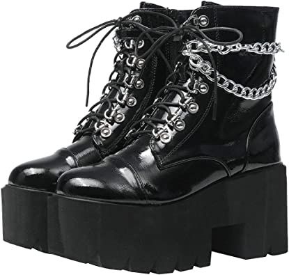 Womens Ladies Ankle Booties Lace Up Punk Lace Up Platfrom High Block Heel Shoes
