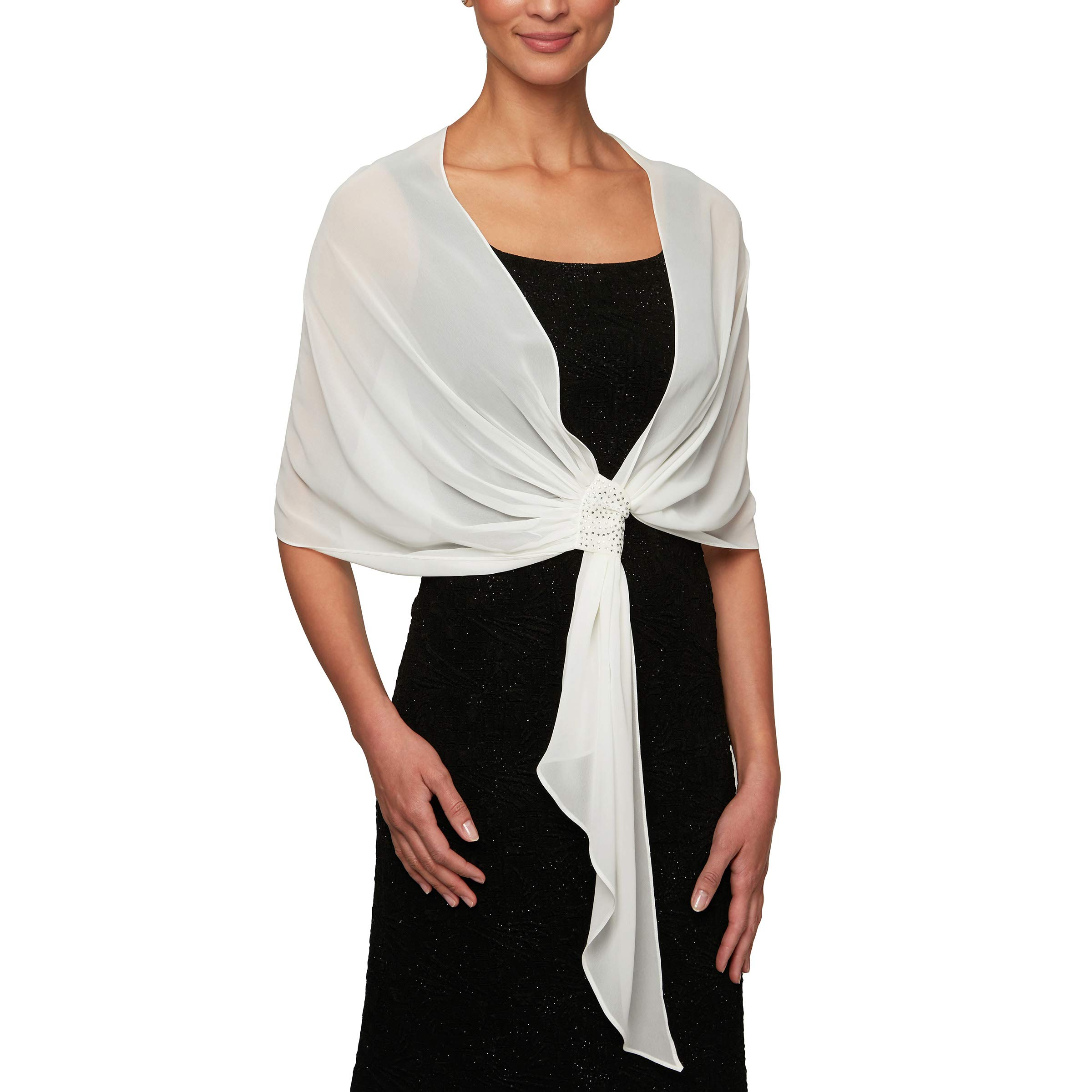 Alex Evenings Women's Plus Size Wraps, Shawls, Cover Ups, and Evening Jackets, Ivory, One