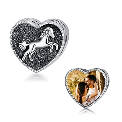 Buy Rikelus 925 Sterling Silver Personalized Photo Charm Fit Pandora Bracelet Necklace Customized Heart Round Shape Picture Bead Online In Indonesia B08t9krz5g