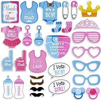 Amazoncom 30 Pcs Gender Reveal Party Boy Or Girl Photo Booth Props