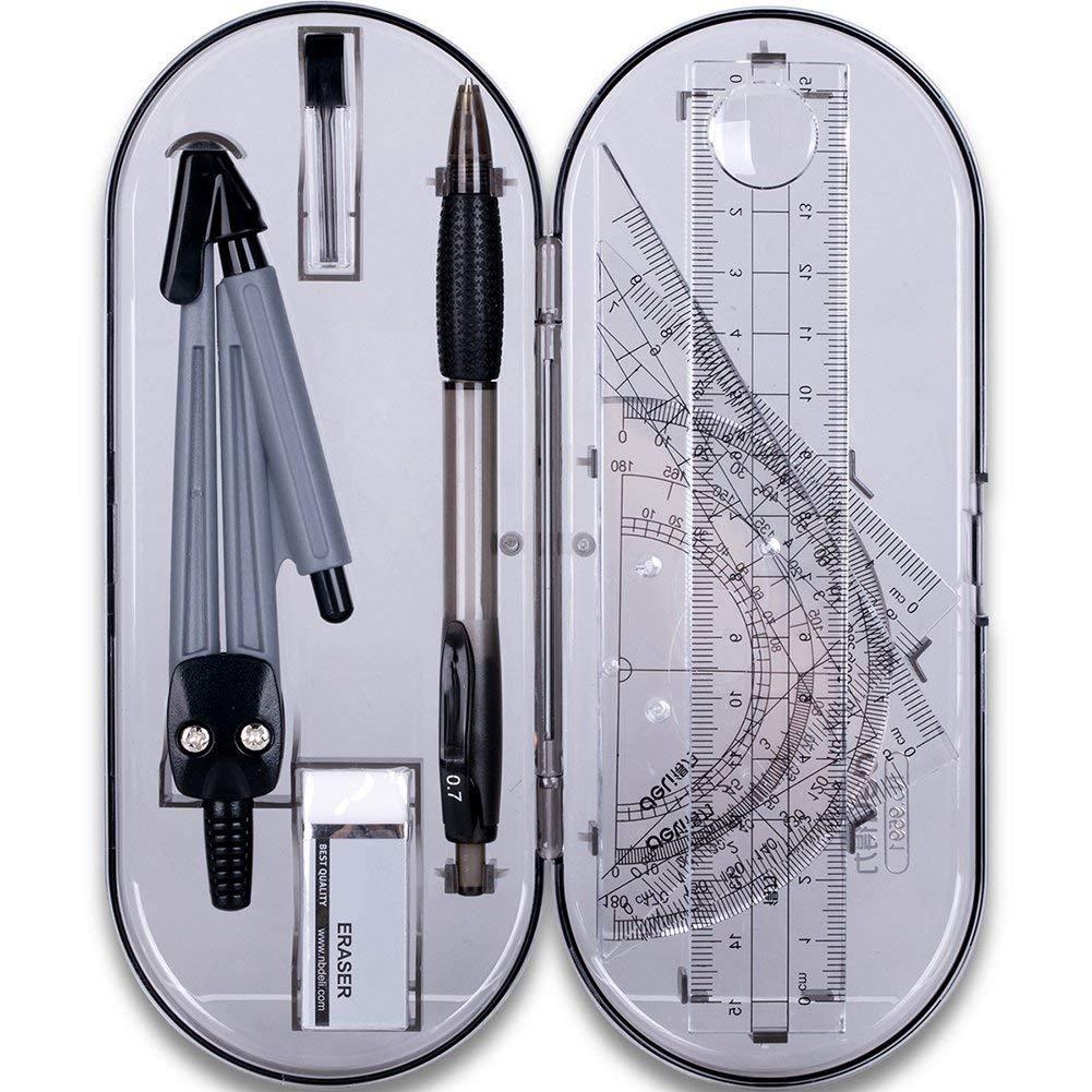 8pcs Portable Escuela matemáticas geometría Conjunto transportador Dibujo Regla compás lápiz Essentials matemáticas Estudio Kit de Herramientas con Caja de Almacenamiento Comtervi