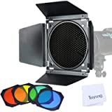 Godox BD-04 Barn Door with Honeycomb Grid and 4 Color Gel Filters(Red Yellow Blue Green) Compatible for Godox 7…