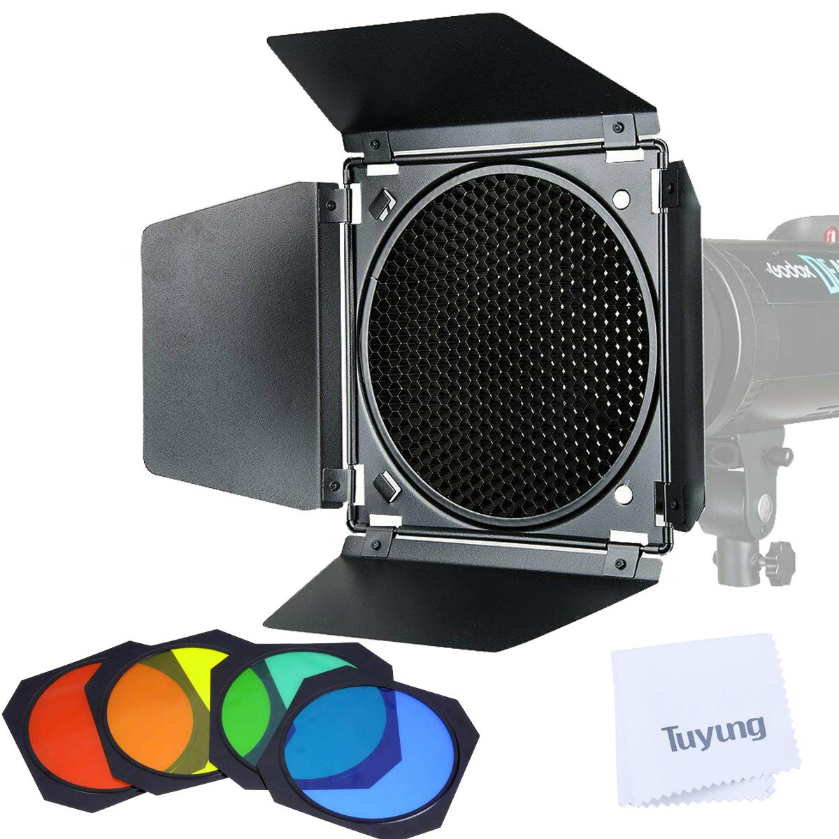 Godox BD-04 Barn Door with Honeycomb Grid and 4 Color Gel Filters(Red Yellow Blue Green) Compatible for Godox 7'' Standard Reflectors for AD600B/AD600BM/AD600Pro/SL60W/SL150W/SL200W/MS200/MS300 by Godox