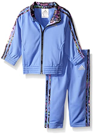 a593e3069 Adidas Baby Girls' Tricot Zip Jacket and Pant Set, Neon Blue, 6M ...