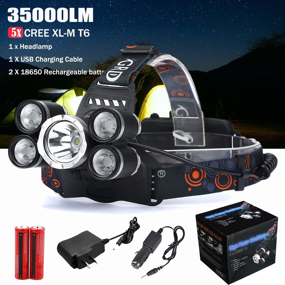 Waterproof LED Headlamp Rechargeable ZIYUO 35000LM 4 modes Super Bright LED headlight,5 CREE XM-L T6 LED,with 18650 Batteries,Car Charger and USB Charging Cable