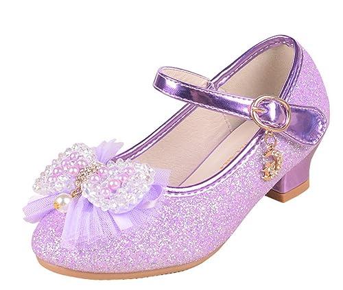 YOGLY Zapatos de Princesa con Tacones Altos para Niñas Chicas de Baile  Latino Zapatos Flor  Amazon.es  Zapatos y complementos 188515fc9b2c